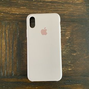 iPhone X/Xs Silicone Apple Logo Case Sand Pink